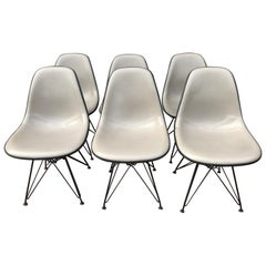 Charles Eames, Set of 6 Chairs DSW, Leather Grey Version, circa 1970