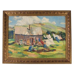 Charles Eames 'Windy Monday' 1930 Hand Oil Painting