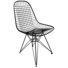 Charles Eames Wire Eiffel Chair DKR in Black Coated Metal