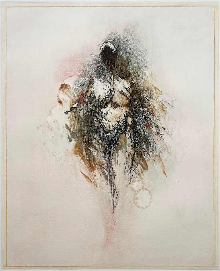 """Unique print combining etching and monoprint techniques. An abstracted female nude by this noted San Francisco artist. Signed, titled and numbered """"A1"""". In excellent condition other than three very small worm holes, not visible when backed by"""