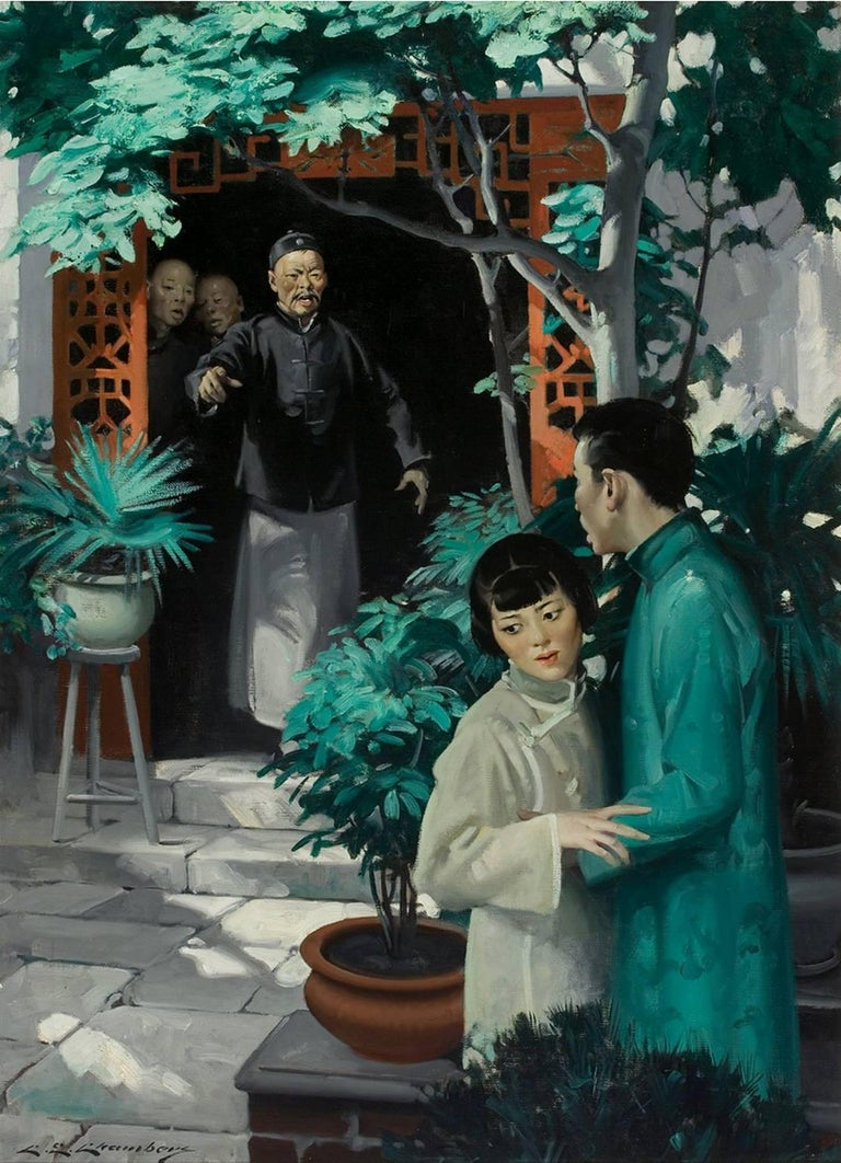 Charles Edward Chambers Portrait Painting - The Good Earth - Asian Love Story