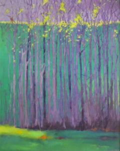 """C.E. Ross, """"Autumn Dawn"""", Colorful Abstract Forest Landscape Acrylic on Canvas"""