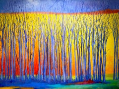 """C.E. Ross, """"Bare Blue Trees"""", Colorful Abstract Landscape Acrylic on Canvas"""