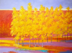"""C.E. Ross, """"Beautiful Day"""", Colorful Abstract Forest Landscape Acrylic on Canvas"""