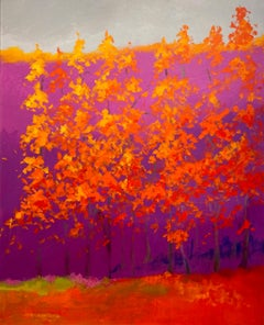 """C.E. Ross, """"Days Warmth"""", Colorful Abstract Forest Landscape Acrylic on Canvas"""