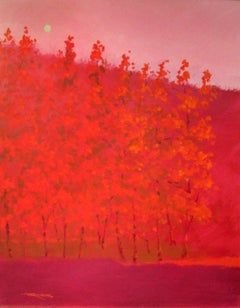 """C.E. Ross, """"Fuchsia Trees"""", Colorful Abstract Forest Landscape Acrylic on Canvas"""