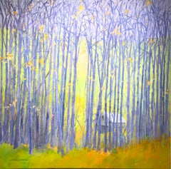 """C.E. Ross, """"Hidden Forest"""", Colorful Abstract Forest Landscape Acrylic on Canvas"""