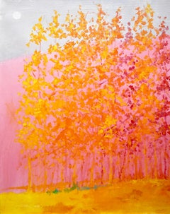 """C.E. Ross, """"Pink Passion"""", Colorful Abstract Forest Landscape Acrylic on Canvas"""