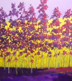 """C.E. Ross, """"Purple and Yellow"""", Colorful Abstract Landscape Acrylic on Canvas"""