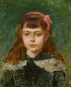 """Girl With a Pink Bow,"" Carolus Duran, oil, portrait, impressionist, 1880-1890"