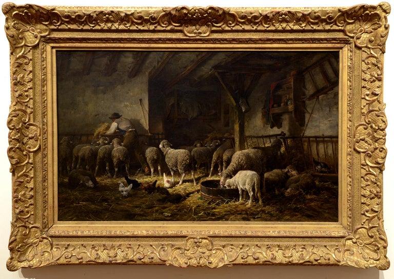 Soleil du Matin dans la Bergerie - Painting by Charles-Emile Jacque