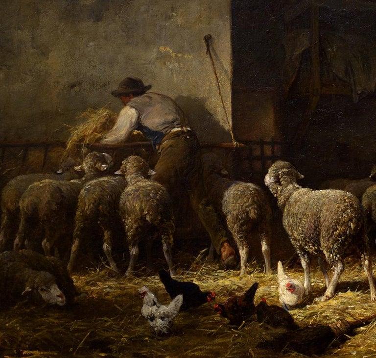 Soleil du Matin dans la Bergerie - Black Animal Painting by Charles-Emile Jacque
