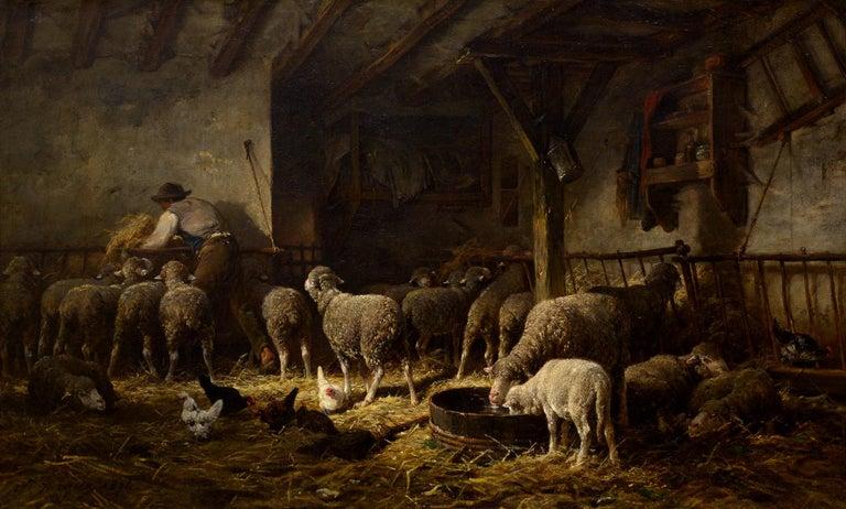 Charles-Emile Jacque Animal Painting - Soleil du Matin dans la Bergerie