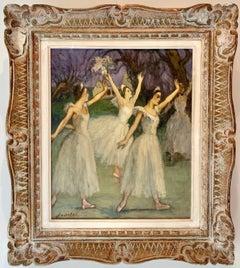 Antique French impressionist painting - Ballerines - Ballet Dance Dancers Degas