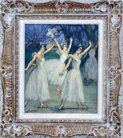 French 19th century style impressionist painting - Ballet - Dance Dancers Degas