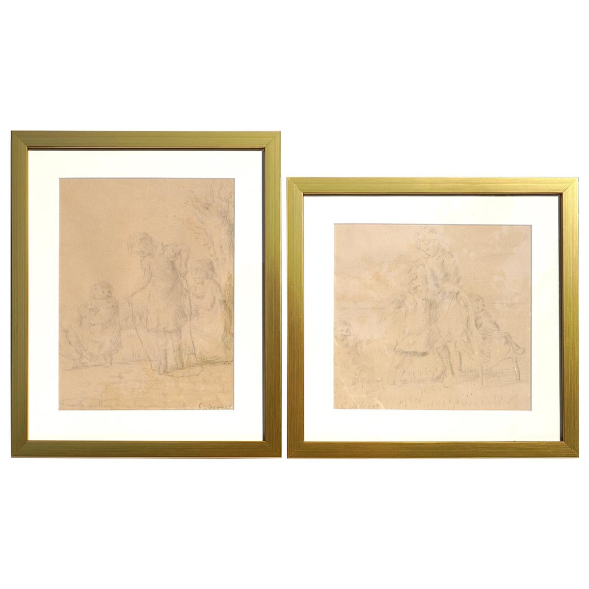 Charles Emmanuel Serret 'FR 1824-1900' Two Drawings of Children Playing