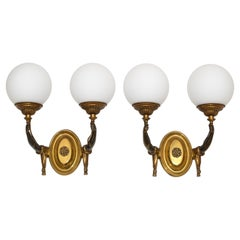 Charles et Fils Pair of Bronze & Blown Opaline Glass Globe French Sconces 1950
