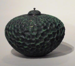 Deep Green Hued, Hand Carved & Hammered Maple Wood Vessel with Lid