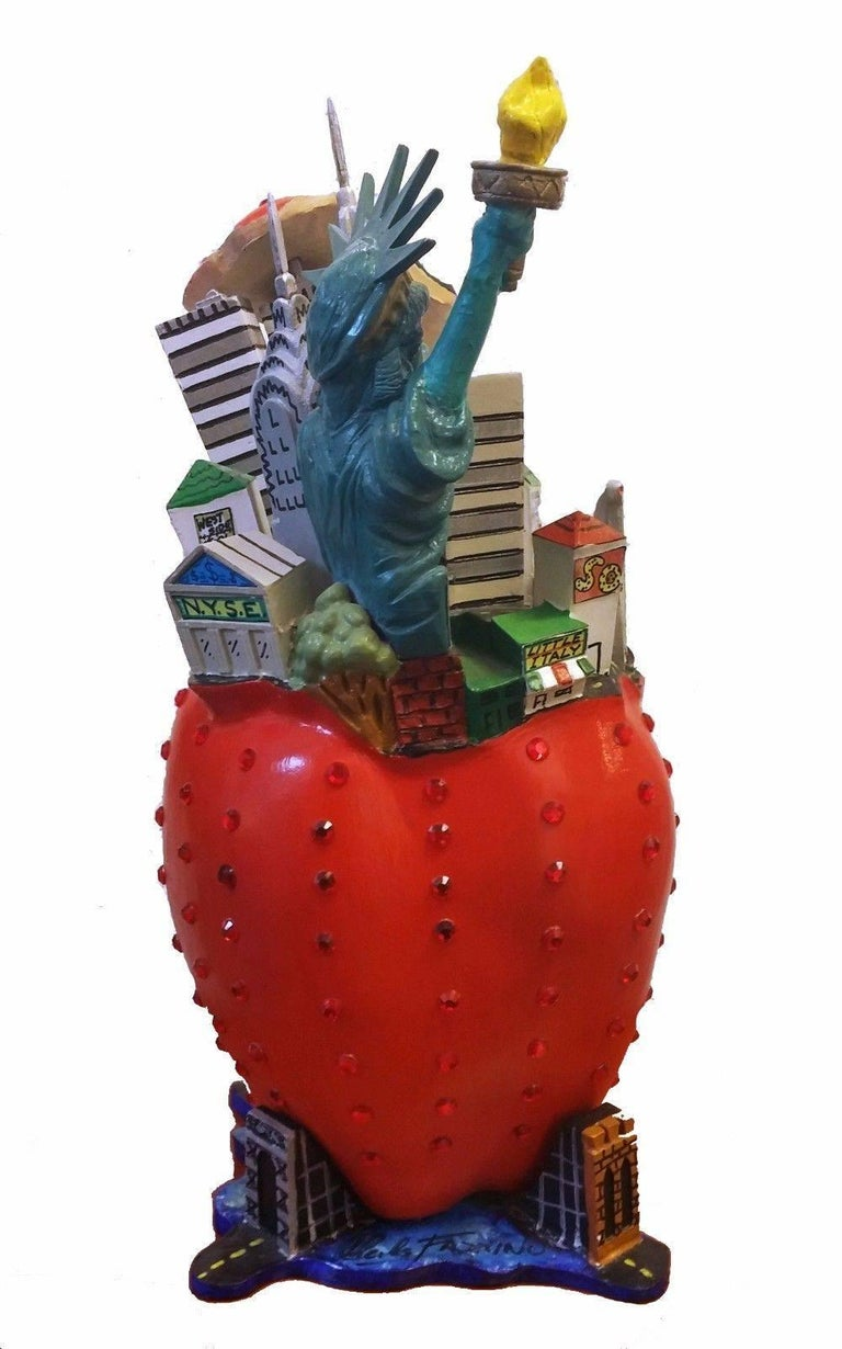 BIG APPLE - Brown Figurative Sculpture by Charles Fazzino