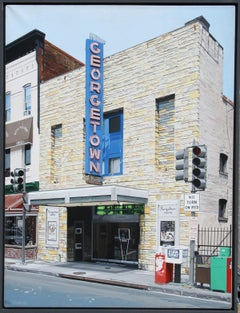 Georgetown Movie Theatre, Photorealist Painting by Charles Ford