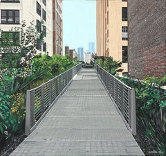 "The High Line, 16x17x1.5"", acrylic on Masonite,"