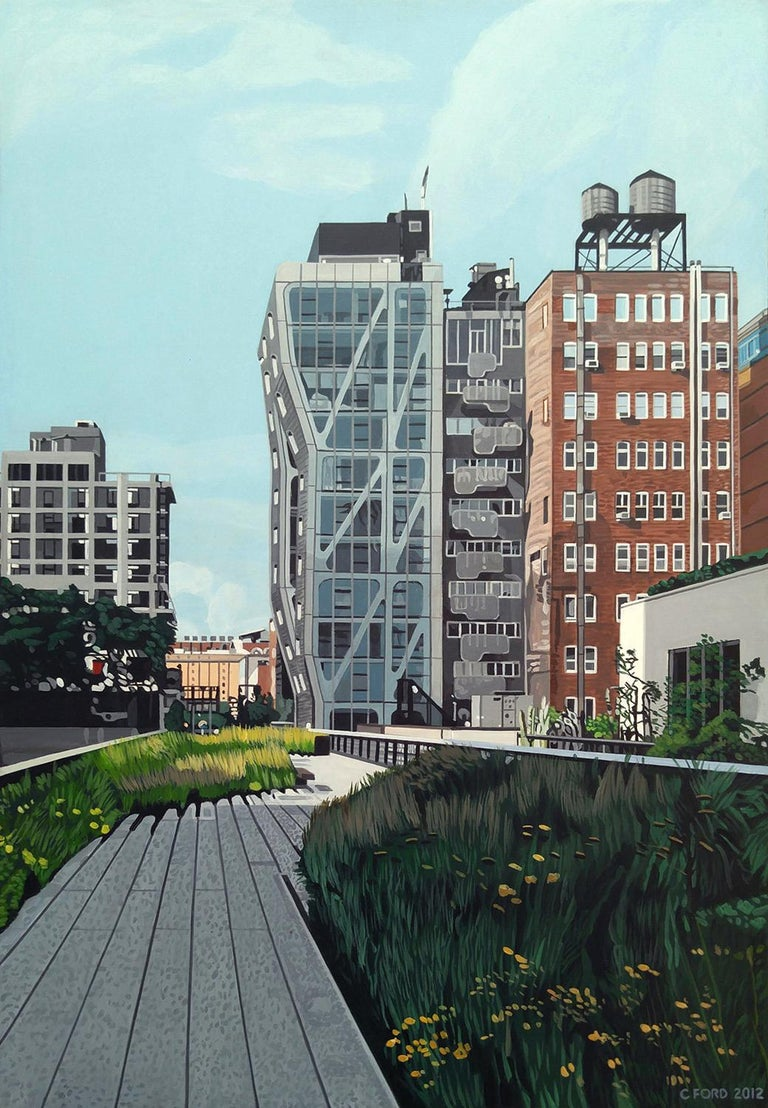 """Charles Ford Landscape Painting - """"The Highline at 23rd"""" New York City,  Acrylic on Masonite"""