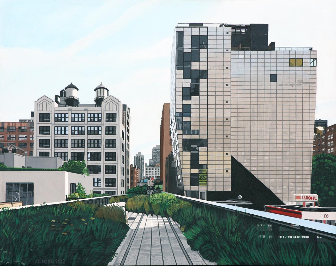 """""""The Highline landscape 245 10th Ave"""" Acrylic on Masonite"""