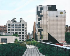 """The Highline landscape 245 10th Ave"" Acrylic on Masonite"