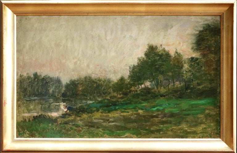 Lavandiere by River - 19th Century Barbizon Oil, Figure by River by C F Daubigny - Painting by Charles François Daubigny