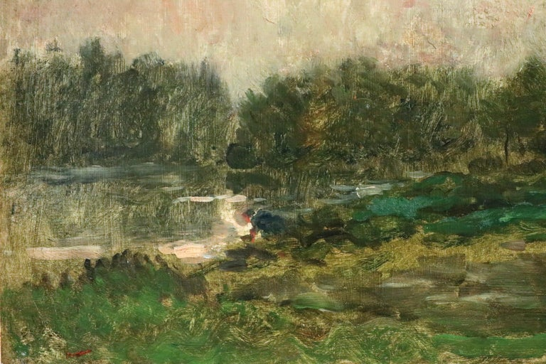 Lavandiere by River - 19th Century Barbizon Oil, Figure by River by C F Daubigny - Barbizon School Painting by Charles François Daubigny