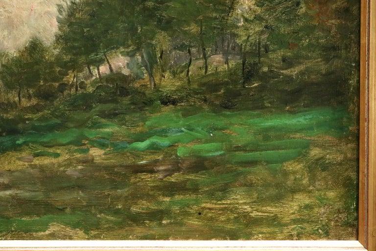 Lavandiere by River - 19th Century Barbizon Oil, Figure by River by C F Daubigny - Black Landscape Painting by Charles François Daubigny