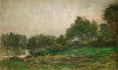 Lavandiere by River - 19th Century Barbizon Oil, Figure by River by C F Daubigny