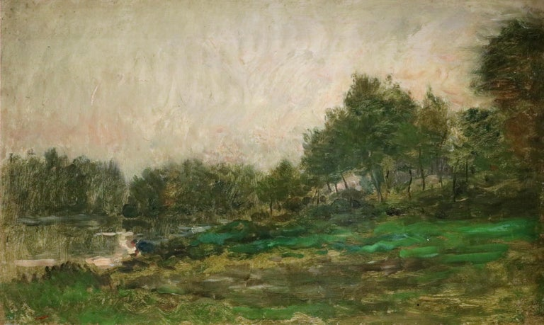 Charles François Daubigny Landscape Painting - Lavandiere by River - 19th Century Barbizon Oil, Figure by River by C F Daubigny
