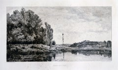 Bords de l'Oise, France - Original Etching by Maillard After Daubigny - 1860 ca.