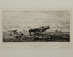 """Plage de Villerville"" original etching by Charles-Francoise Daubigny, 4th State"