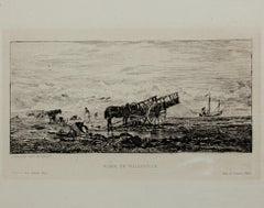 """Plage de Villerville"" Original Etching by Charles-Francoise Daubigny, 4th State"