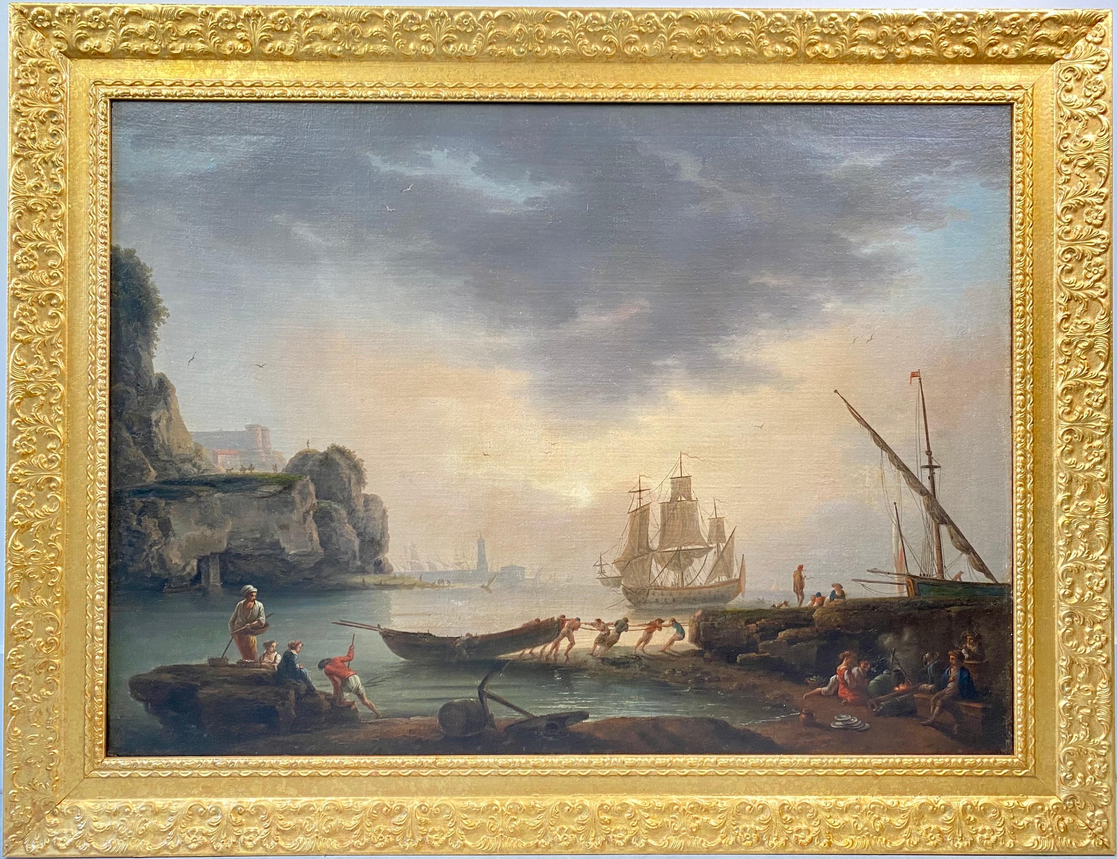 18th century Mediterranean Harbour landscape painting - View of Marseille