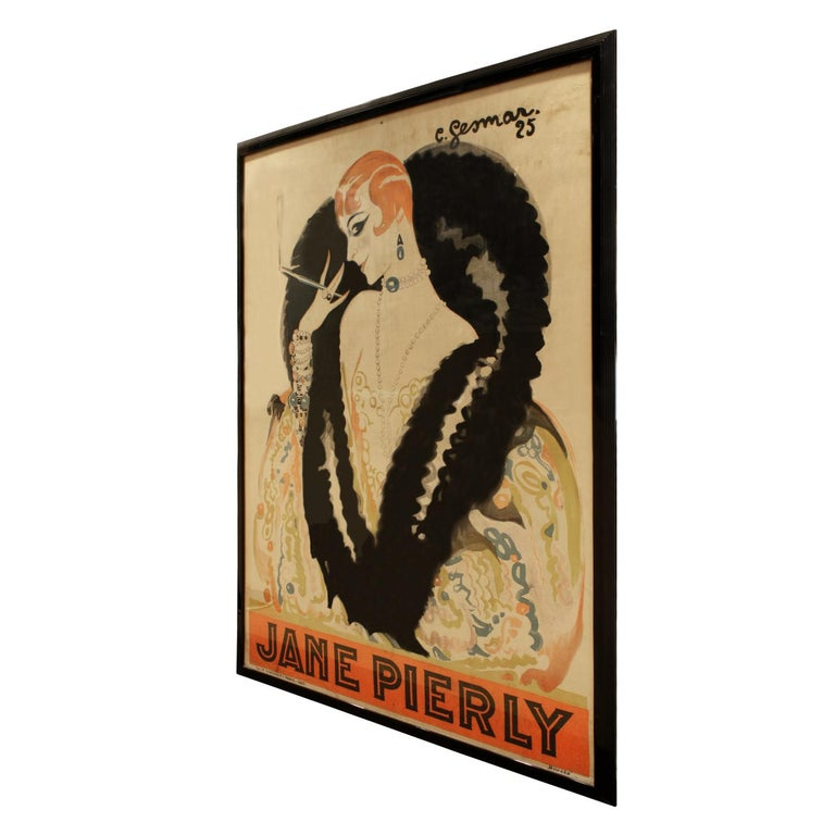 Framed large poster of chanteuse Jane Pierly smoking a cigarette in a fur wrap by noted artist Charles Gesmar, printed by H. Chachoin, France 1925 (signed on front). These were done in small editions and this one is considered one of his best and