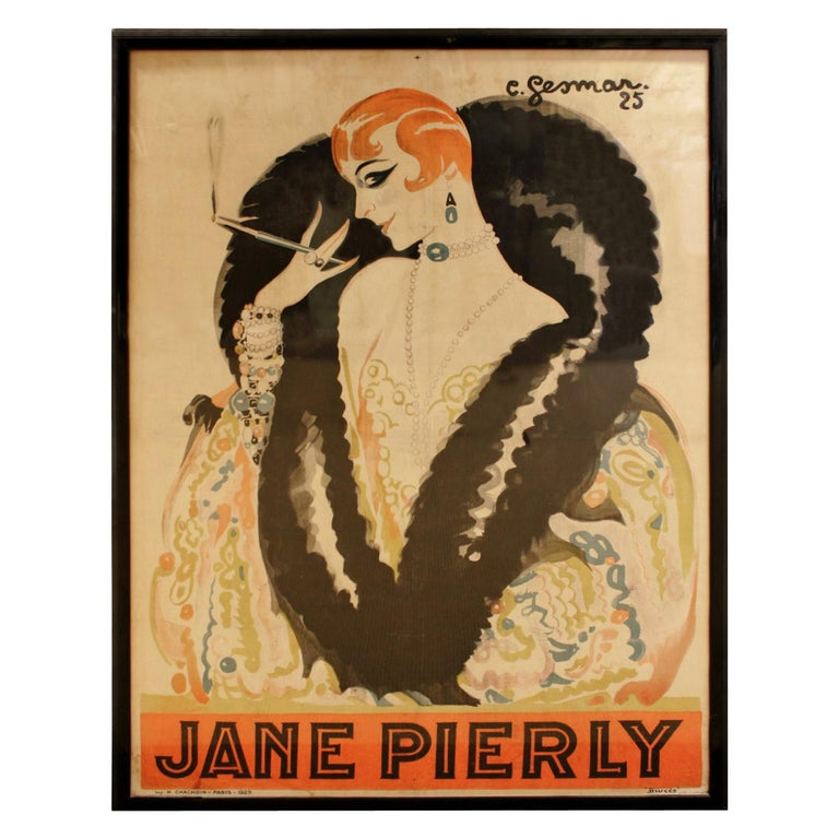 Charles Gesmar Original Jane Pierly Poster, 1925 'Signed' For Sale