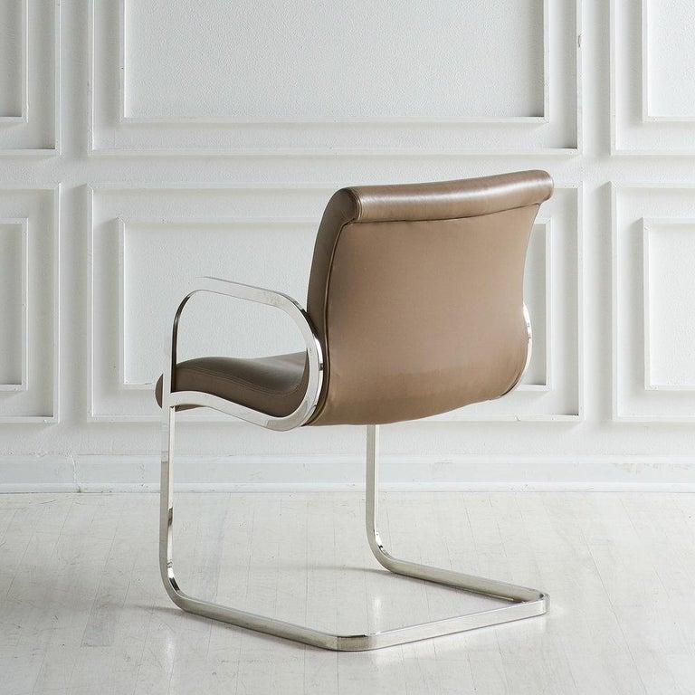 Mid-Century Modern Charles Gibilterra Leather and Chrome