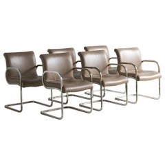 "Charles Gibilterra Leather and Chrome ""Ghia"" Dining Chairs, Set of 6"