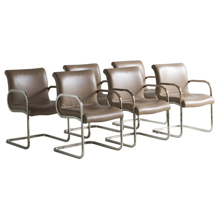 """Charles Gibilterra Leather and Chrome """"Ghia"""" Dining Chairs, Set of 6 For Sale"""