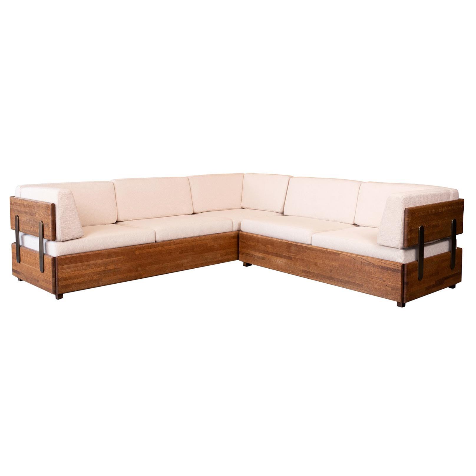 Charles Gibilterra Oak and Bronze Sectional Sofa