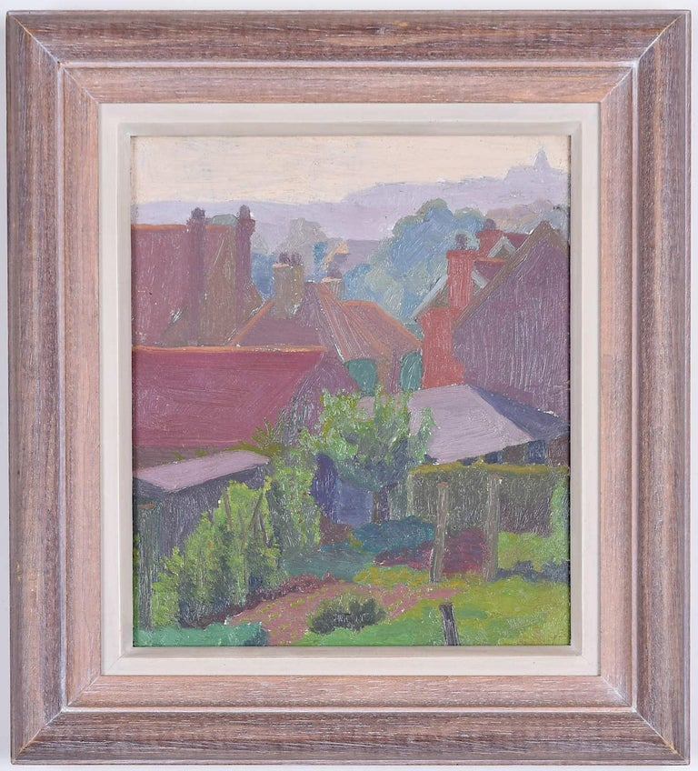 Charles Ginner oil painting Backs of Gardens Oxted Surrey Modern British Art - Painting by Charles Ginner