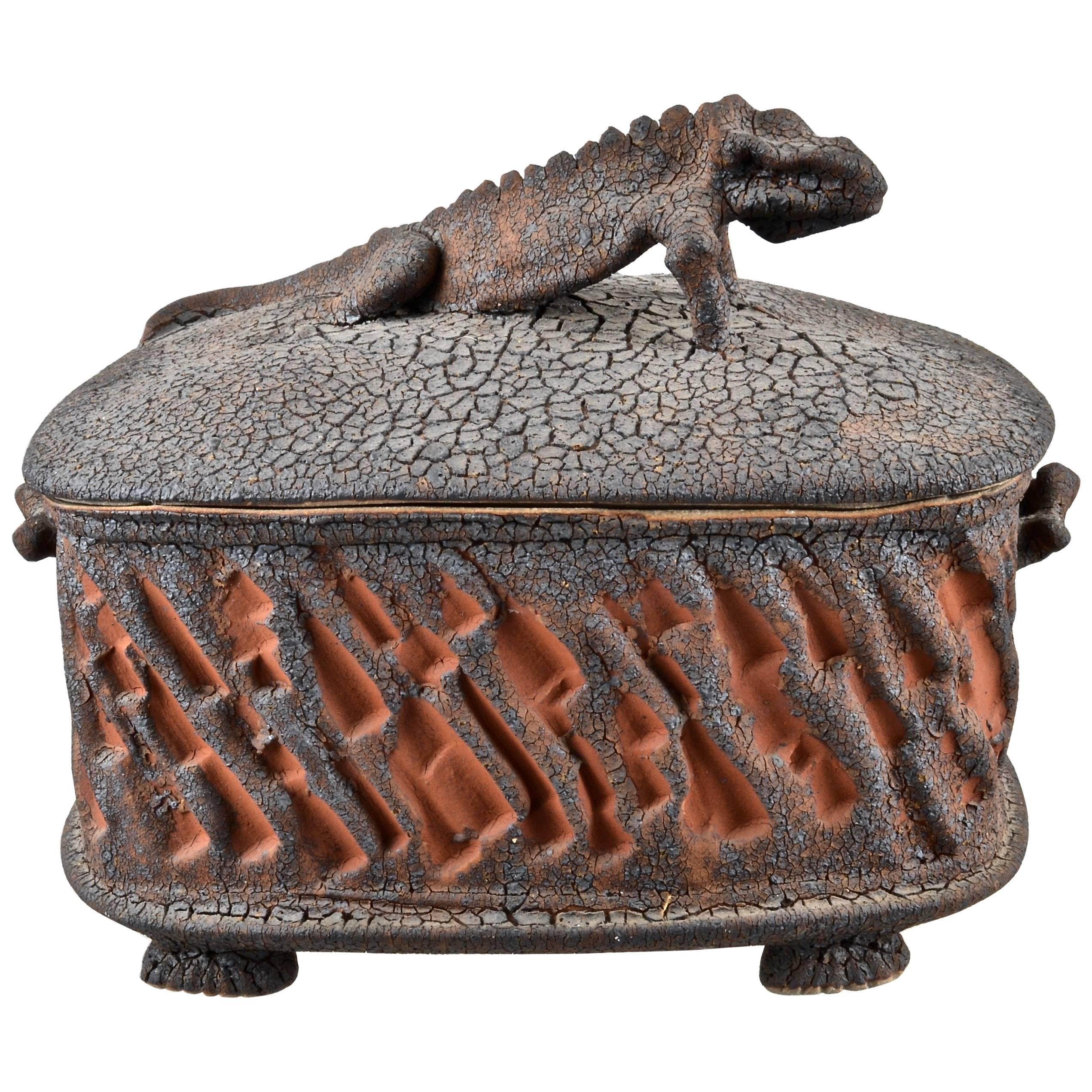 Charles Gluskoter Art Pottery Lidded Box, USA, 1987