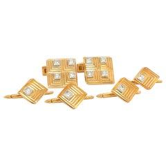 Charles Gold & Co. 18kt Yellow Gold & Diamond 1.34ct Cuff Links/Studs Dress Set