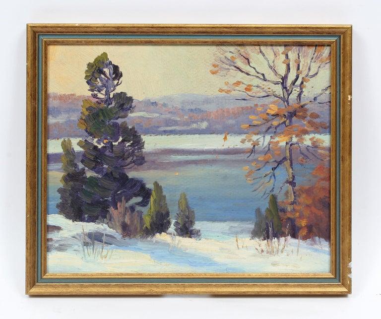 Antique American Impressionist Landscape Snow River Original Oil Painting  - Gray Landscape Painting by Charles Gordon Harris