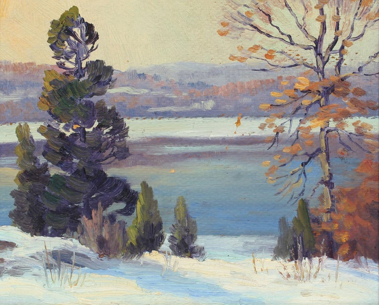 Antique American impressionist landscape oil painting by Charles Gordon Harris (1891 - 1963).  Oil on board, circa 1920. Signed.  Displayed in a period giltwood frame.  Image, 11