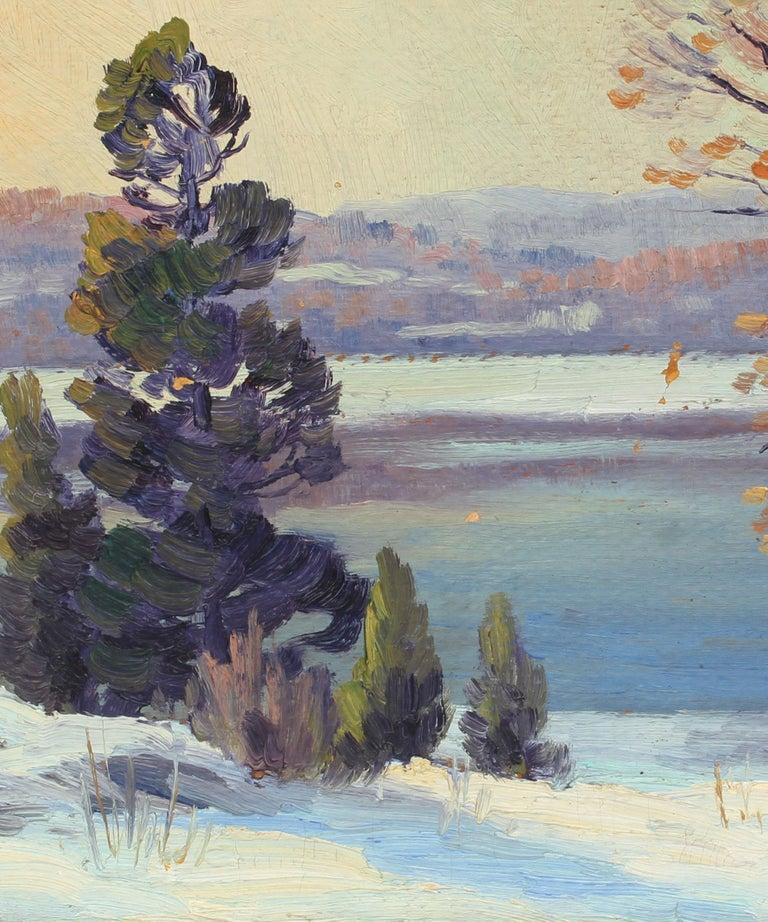Antique American Impressionist Landscape Snow River Original Oil Painting  For Sale 1