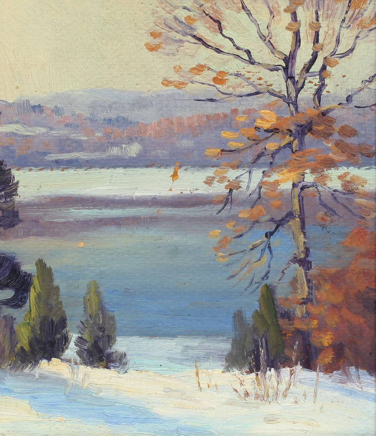 Antique American Impressionist Landscape Snow River Original Oil Painting  For Sale 2
